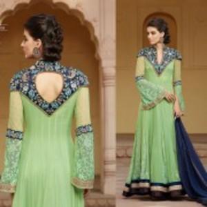 Sea Green Semi Stitched Embroidered Designer Dress-1308