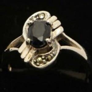 Sapphire Stone Silver Ring GB(5)4911