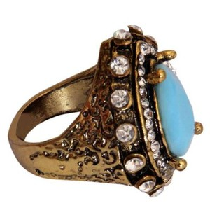 Gold Plated Sky Blue & White Stone Ring-R-0036