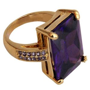 Gold Plated Purple & White Stone Ring-R-0041