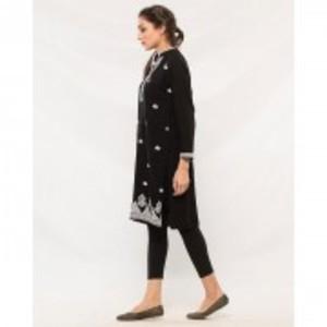 Black Butter Linen Embroidered Kurti for Women