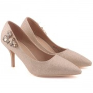 LIV Side Studded Stone Shimmer Slip On Stiletto Court Shoes
