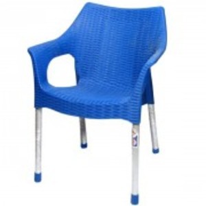 Rattan Plastic Chair With Steel Legs-Blue