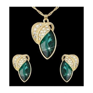 Classy Gold Green Leaf Style Necklace Earring Set