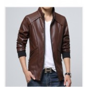 Slimfit Stylish Casual Brown Jacket Faux Leather  40 Otf -Brown