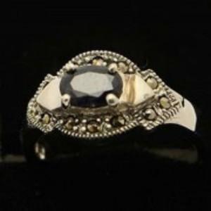 Sapphire Stone Silver Ring GB(5)4906