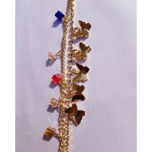 Golden Alloy & Zircon Studded Anklet-Ak-01