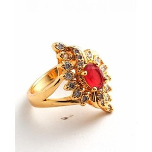Red Unique Design Zircon Crystal Gold Plated Ring