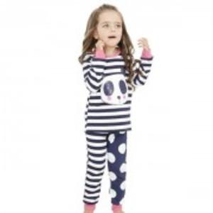 Panda Top Dot Mixture Striped Pajamas 2pcs Sets