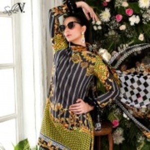 Black 3 Piece Luxury Fully Embroidered Elaheh Lawn-Black Gold