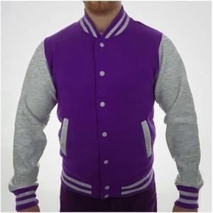 Purple and Hazel Grey Baseball Fleece Versity Jacket