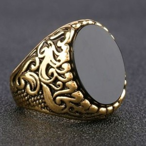 Turkish Gold Plated Men's Ring With Black Onyx-Brass Alloy