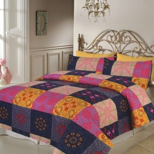 Multicolour King Size Double Bed Sheet with 2 Pillow Covers - SM12DJ