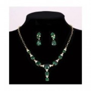 Green - Pendant Necklace Water Drop Earrings