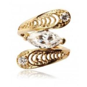 White Rhinestone Embellished 24K Gold Plated Ring