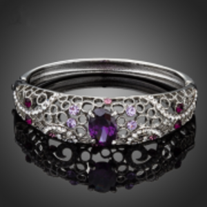 Gorgeous Multicolor With A Big Purple Cubic Zirconia Paved Bangle