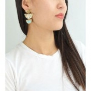Gold-colour with Blue Stone Drop Marble Earrings