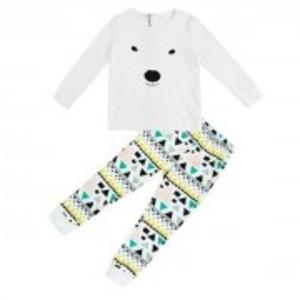White Bear Top Print Trousers