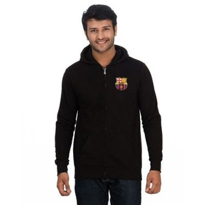 Black Cotton & Fleece FCB Printed Zipper Hoodie-ARA-ZHood-FCBBlS