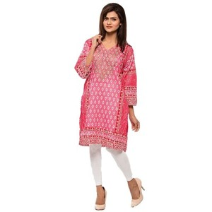 Pink & White Printed & Embroidered Lawn Kurti-VOL-45