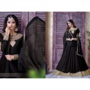 Brown Semi Stitched Designer Party Wear Anarkali Dress-406