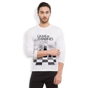 Full Sleeves Game of Throne T Shirt-White-Ace-7008