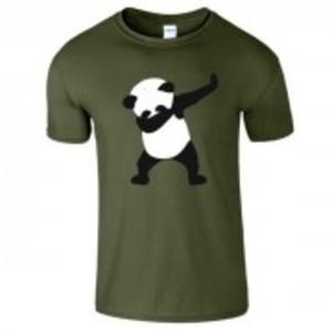 Military Green Stylish Panda Printed T-Shirt-0489