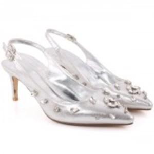 MARION Embellished Shimmer Sling Back Stiletto Sandals