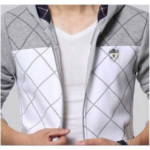 Grey & White Winter print panel zipper Hoodie-247S-397