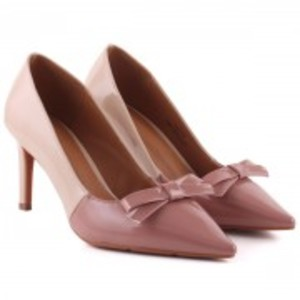 DAPHNE Dual Color Bow Decorated Pointy Toe Stiletto Court Shoes