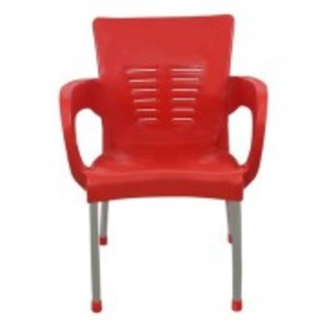 Plastic Chair With Steel Legs-Red