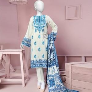 3 Pcs Unstitched Sapphire Blue Lawn Vol. 1 Collection Suit-JLAWN-S-18-026/B