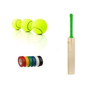 Fitness Pack of 3-HS Peak 1000 Tape Ball Cricket Bat with Shine Tennis Balls & Tuff Black Tapes