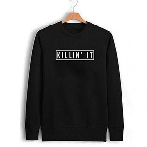 Black Killed It - Printed Round Neck Sweatshirt