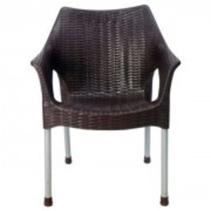 Rattan Plastic Chair With Steel Legs-Brown