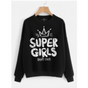 Women's Black Super Girl Sweatshirt.