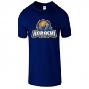 Navy Blue Cotton Karachi King Printed T-Shirt-00413
