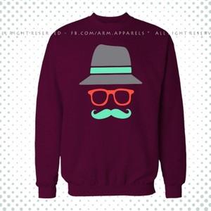 Maroon Printed Fleece Sweatshirt-Hipster-01SWMaroon