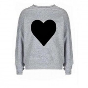 Black SweatShirt Heart Printed Fleece for Her