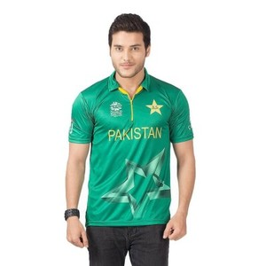 Green Lycra ICC World T20 Pakistan Cricket T-Shirt