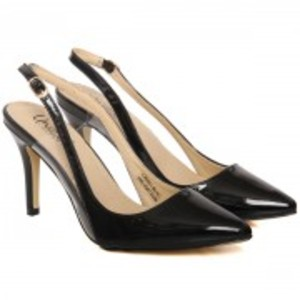 """""""ELIF"""" Patent Pointed Toe Sling Back Ankle Strap Stiletto Shoes"""