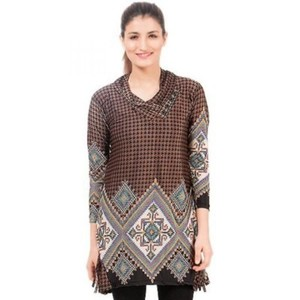 Brown Jersey Printed Tunic Top-ARA-TunicPrnt-BrMul