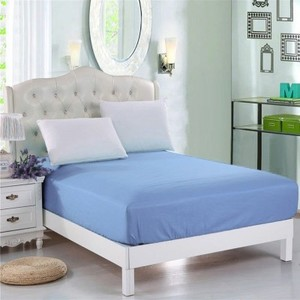 Sky Blue Jersey & Polyester Single Size Bed Sheet SB-Mix7