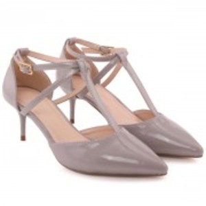 ELVINE Patent Ankle Strap Heel Cup T-Bar Stiletto Heel Sandals