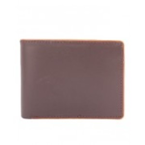 Brown Leather Wallet With Piping Edges