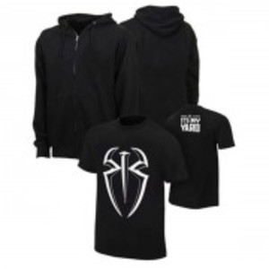 Set of 2 Black Hoodie with Cotton Printed Roman Reigns T Shirt