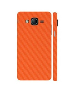 Decor Today Samsung On5 2015 Orange Carbon Fiber Texture Mobile Skin-Back & Sides