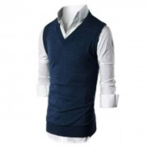 Blue Fleece Half Sleeves Sweater
