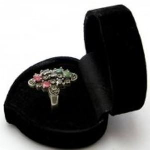 Emerald Sapphire and Ruby Stone Silver Ring GB(5)4396
