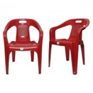 Stylish Plastic Outdoor Chair Set of 2-Red